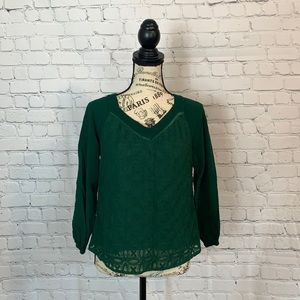 Skies are Blue / Hunter green blouse / size XS